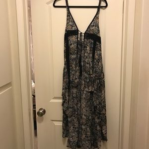 Floral High Low Front Tie Dress NWT